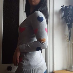 Sweaters - Colorful Hearts Grey Knit Sweater